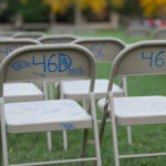 Folding chairs on the Quad with seat numbers