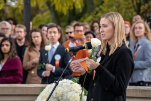 Katie Berrell at Rose Laying Ceremony