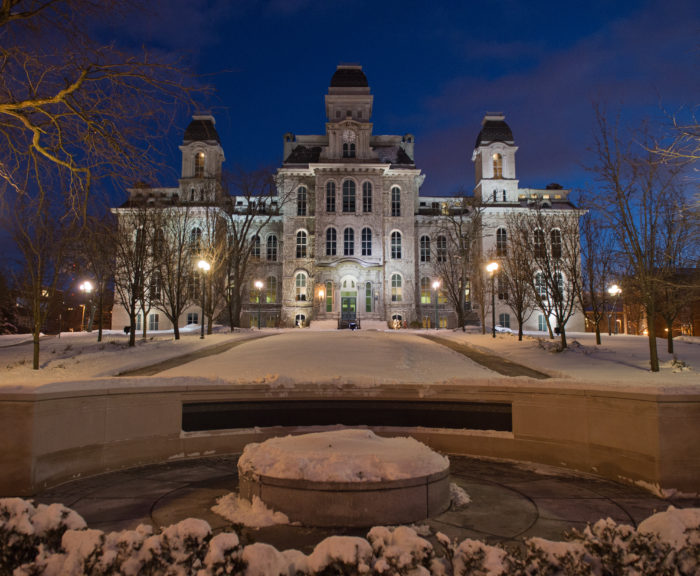 Hall of Languages and Place of Remembrance on snowy night