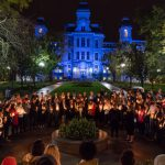 Group gathered for candlelight vigil